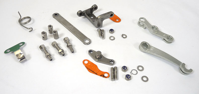 Lambretta Precision clutch and gear linkage kit with plain adjuster block, MB, zinc version