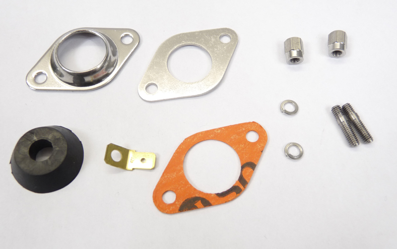 Lambretta Magneto housing sealing plate kit (2 plates, nuts, washers, studs, grommet and gasket) large electronic type, MB