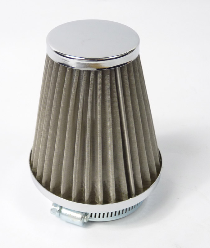 Air filter, stainless cone shaped 48mm with Chrome surround for PWK carbs or Remote conversions, BGM