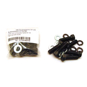 Gear box endplate fastener kit with high tensile bolts and washers
