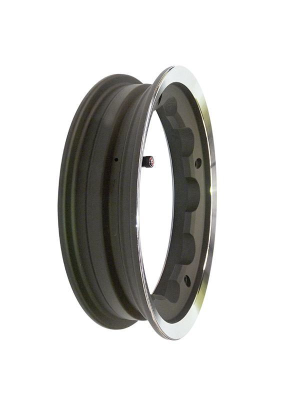 Lambretta Wheel rim, tubeless alloy, Black with polished lip, SIP