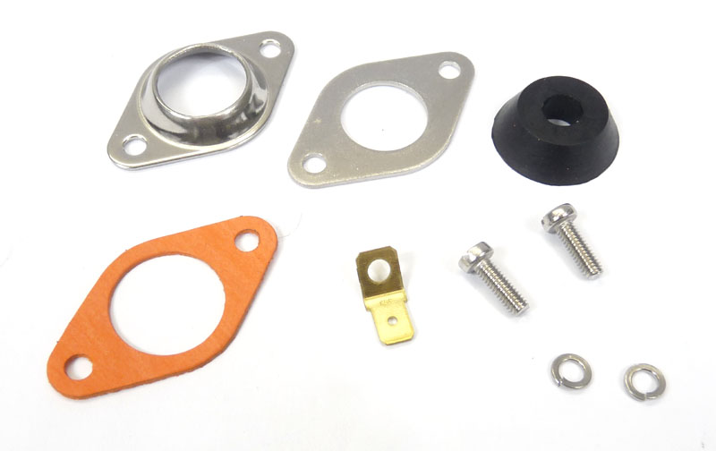 Lambretta Magneto housing sealing plate kit (2 plates, washers, screws, grommet and gasket) large electronic type, MB