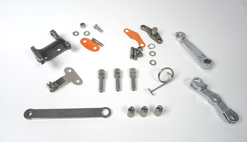 Lambretta Engine clutch and gear linkage kit (set) chrome plated version, short clutch arm, MB